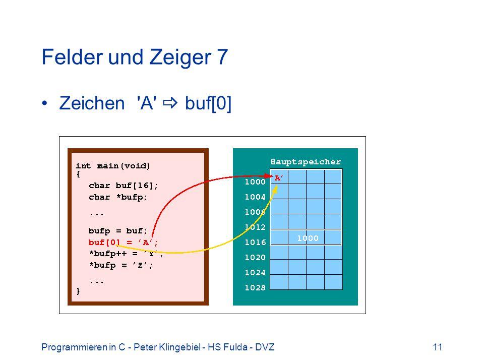Felder und Zeiger 7 Zeichen A  buf[0]